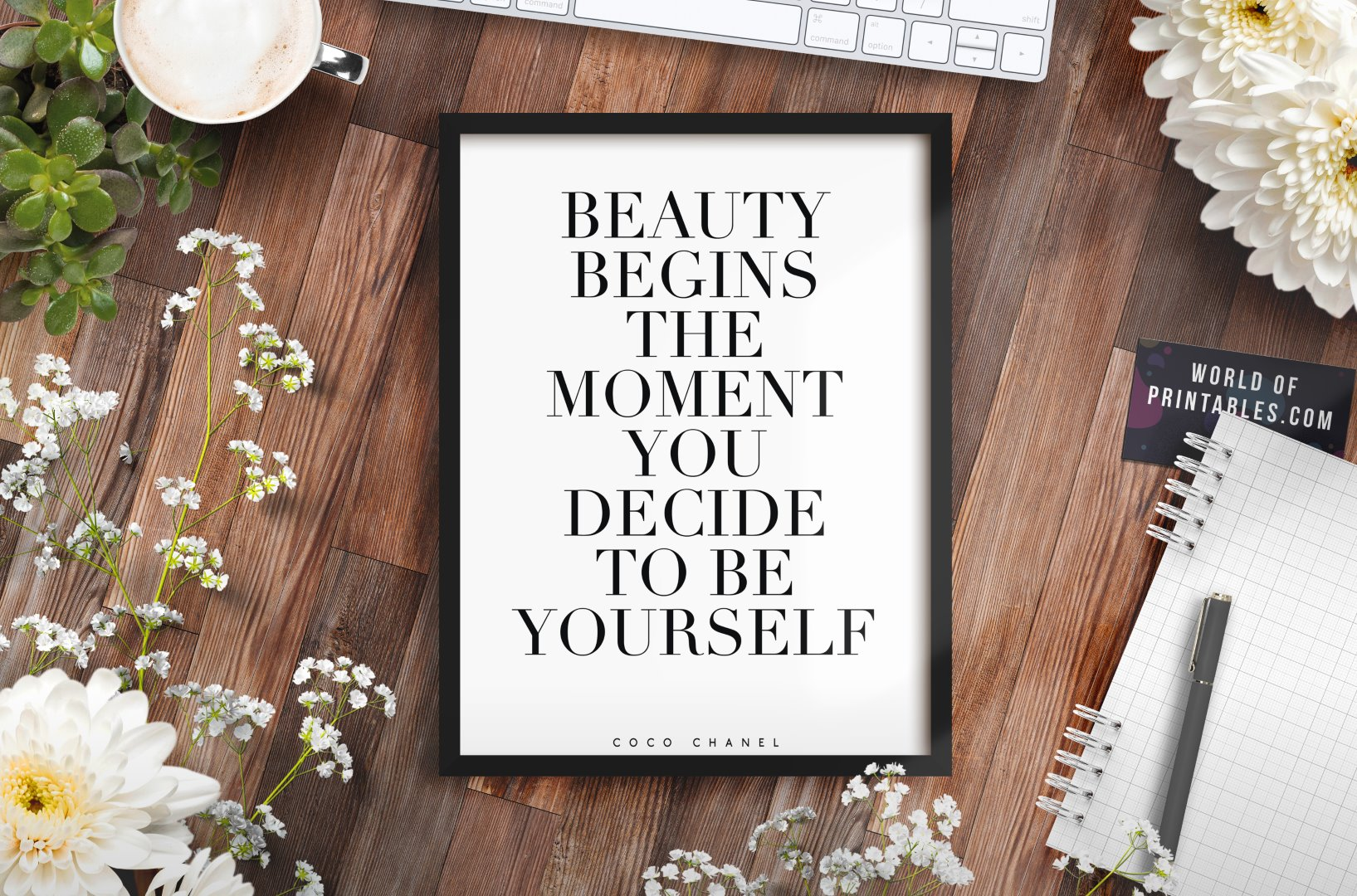 beauty begins the moment you decide to be yourself mockup 2 - Printable Wall Art