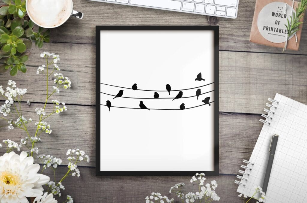 birds on a wire mockup 2 - Printable Wall Art