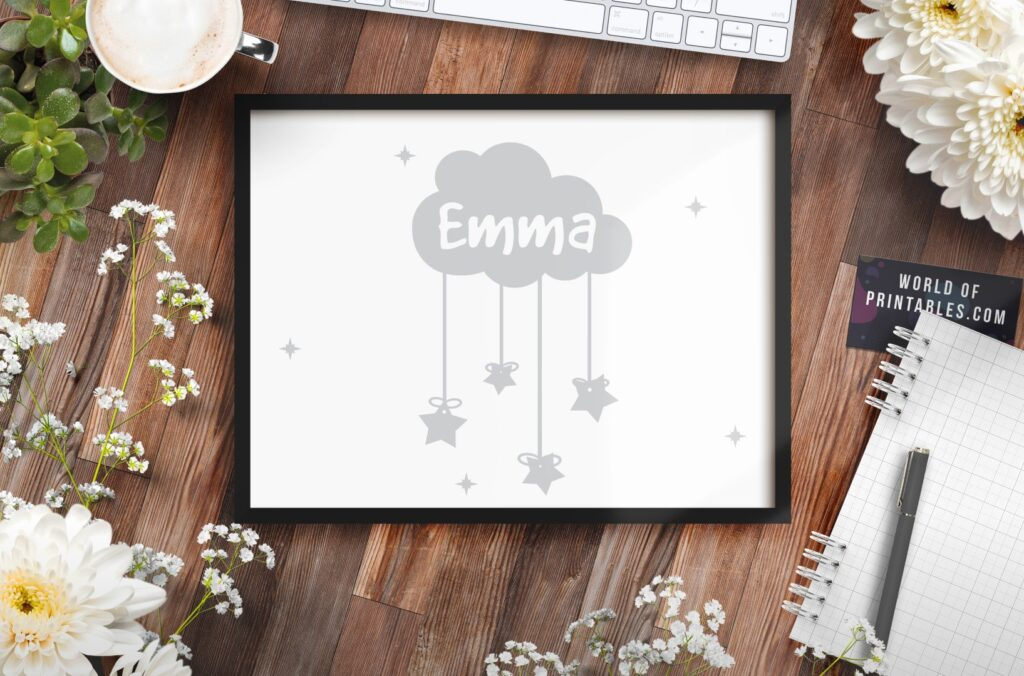 Childrens name nursery wall art print featuring stars and cloud - Printable Wall Art