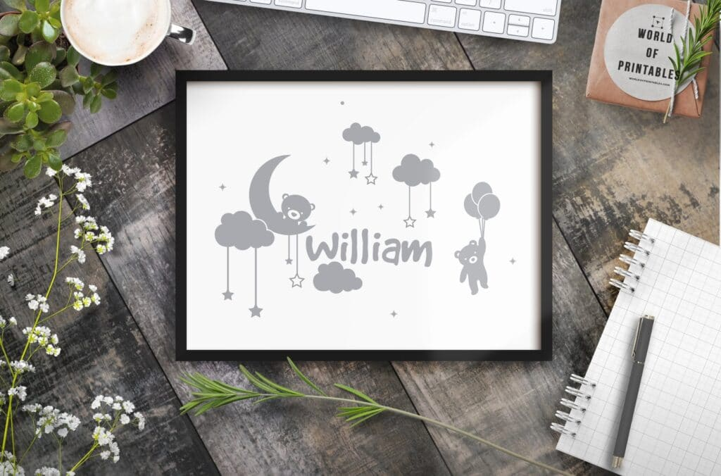 boys name in clouds with hanging teddy - Printable Wall Art