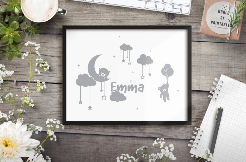 girls name in clouds with moon and hanging teddy mockup - Printable Wall Art