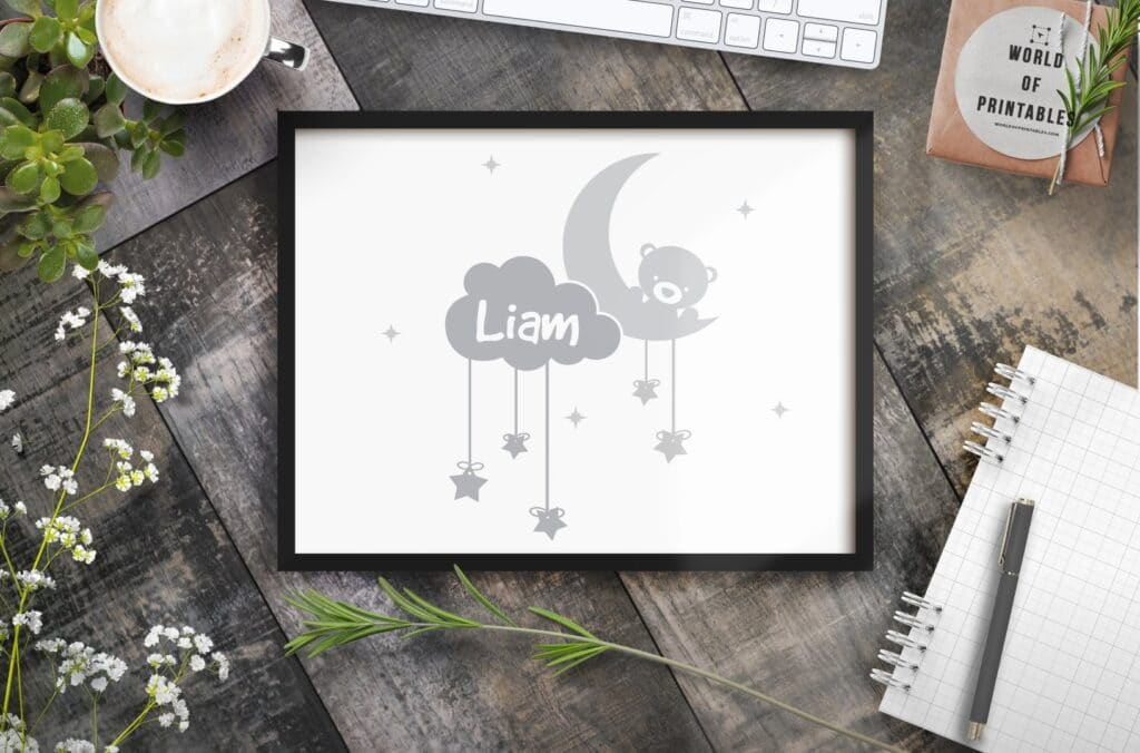 boys name in clouds with moon and teddy mockup - Printable Wall Art (1)