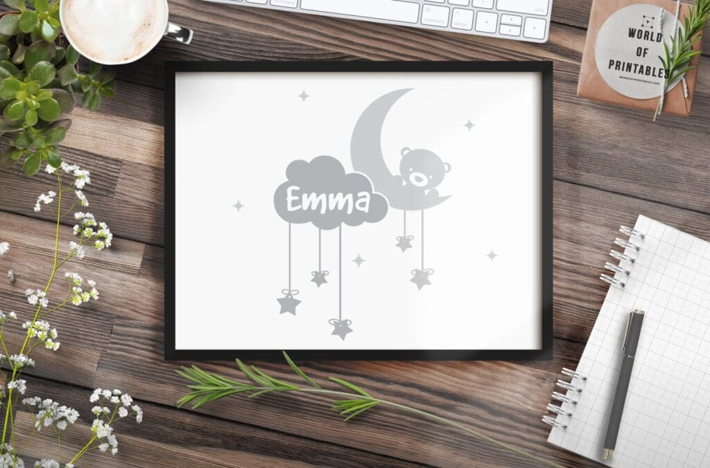 boys name girls name in clouds with moon and teddy mockup - Printable Wall Art