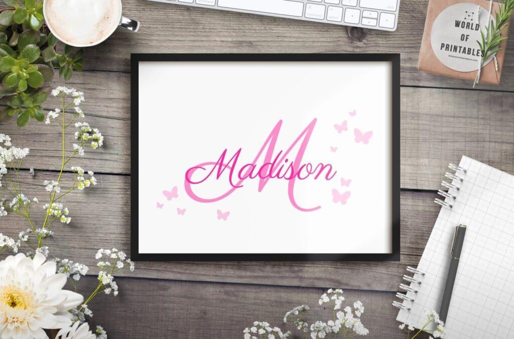 girls name monogram with butterflies alt mockup - Printable Wall Art