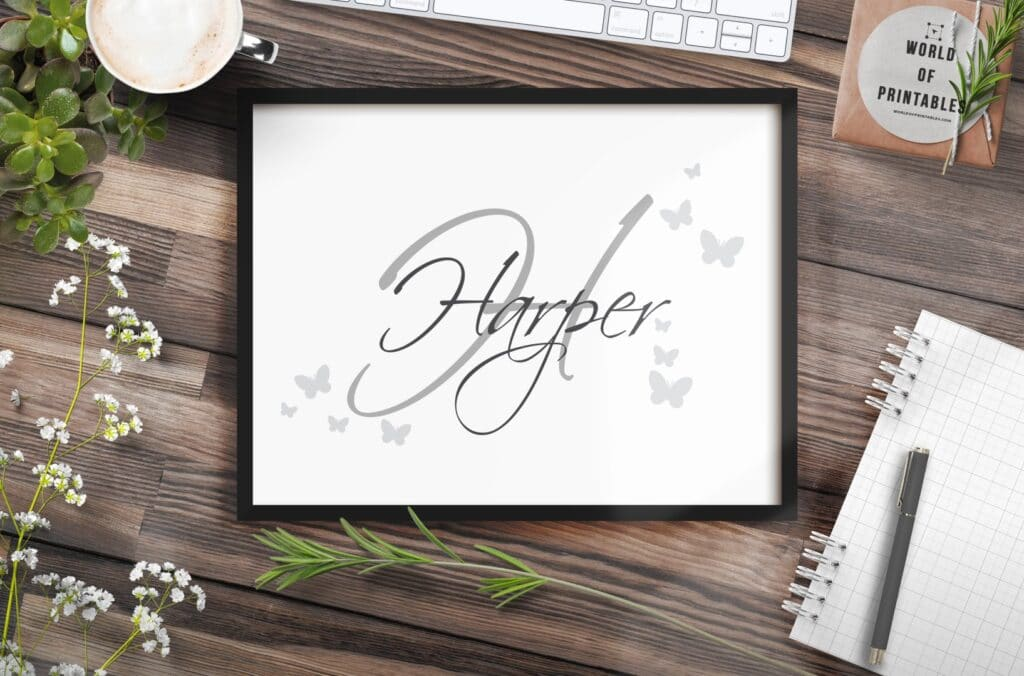 Girls name monogram with butterflies - Printable Wall Art