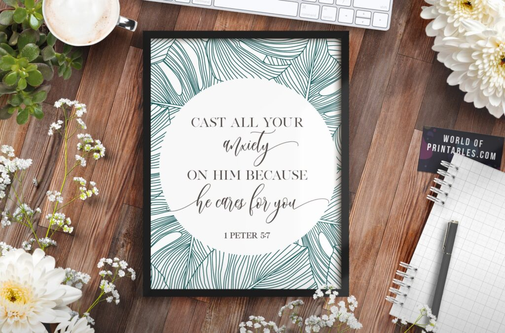 cast all your anxiety on him because he cares for you - Printable Wall Art