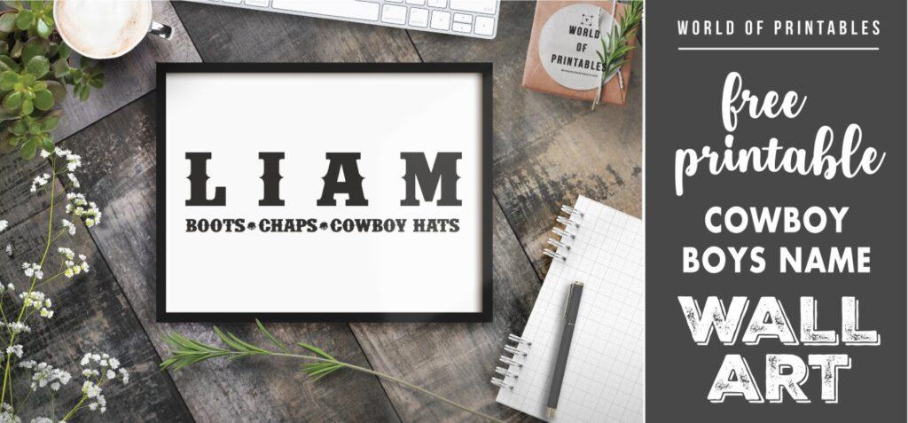 cowboy boys name - Printable Wall Art