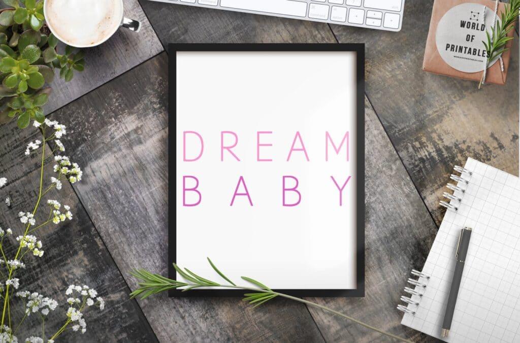 Dream Baby pink - Printable Wall Art