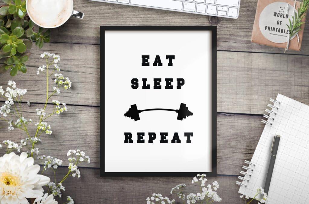 eat sleep repeat mockup 2 - Printable Wall Art