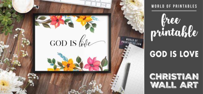 free christian wall art - god is love - Printable