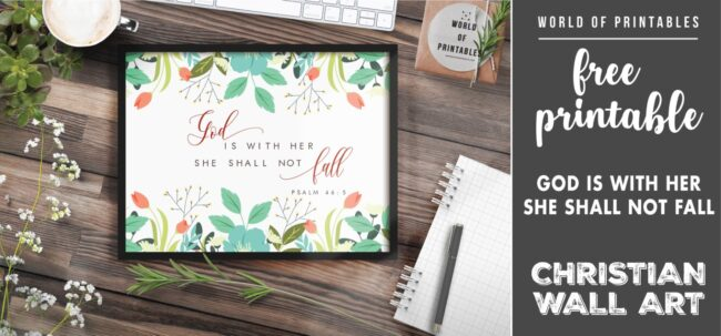 free christian wall art - god is with her she shall not fall - Printable