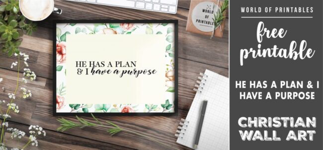 free christian wall art - he has a plan and I have a purpose - Printable