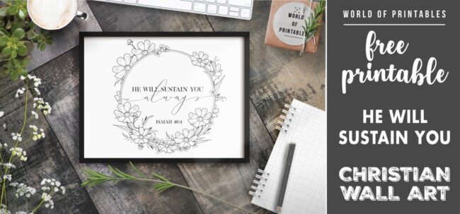 free christian wall art - he will sustain you-Printable