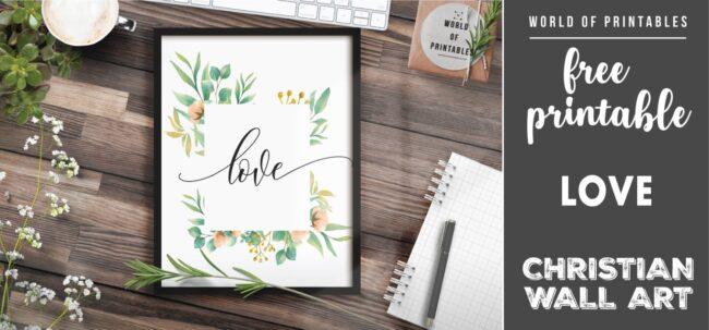 free christian wall art - love - Printable
