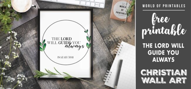 free christian wall art - the lord will guide you Printable