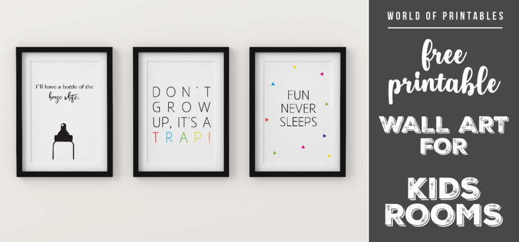 free printable wall art for kids rooms