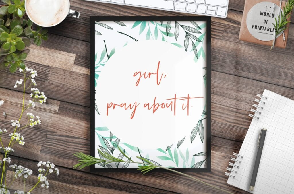 girl pray about it - Printable Wall Art