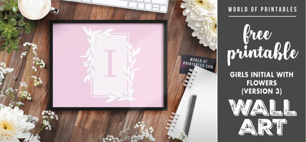 girls initial with flowers version 3- Printable Wall Art