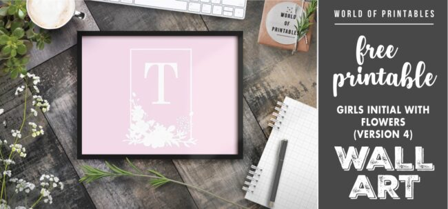 girls initial with flowers version 4 - Printable Wall Art