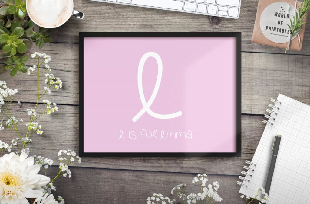 girls name initial and name - Printable Wall Art