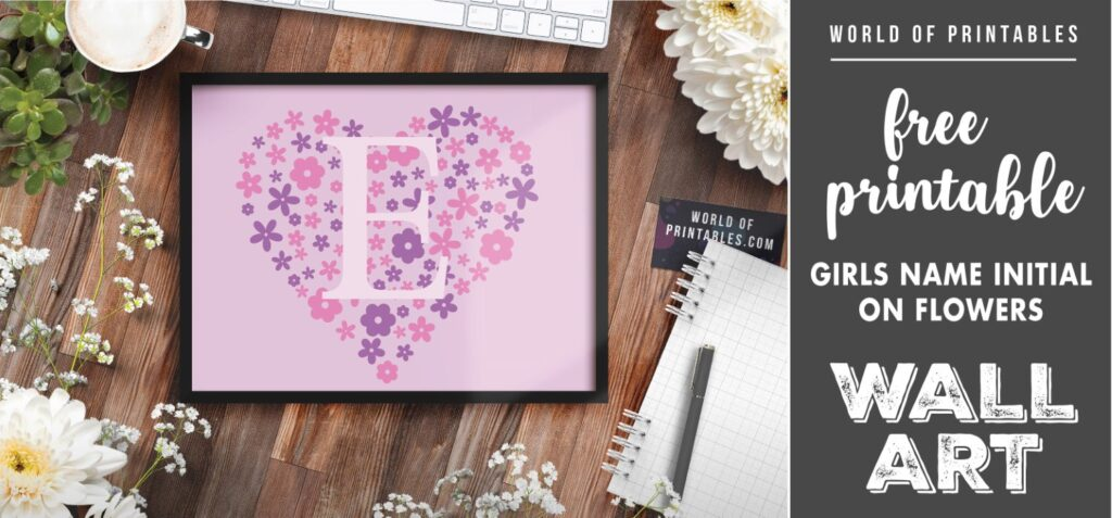 girls name initial on flowers - Printable Wall Art