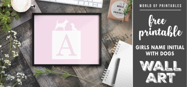 girls name initial with dogs - Printable Wall Art