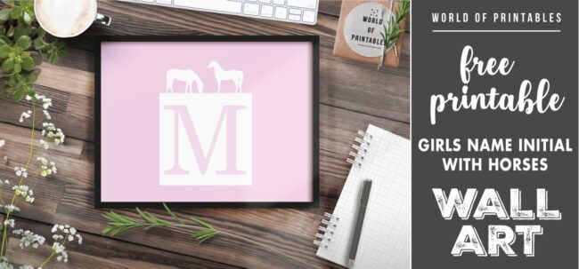 girls name initial with horses - Printable Wall Art