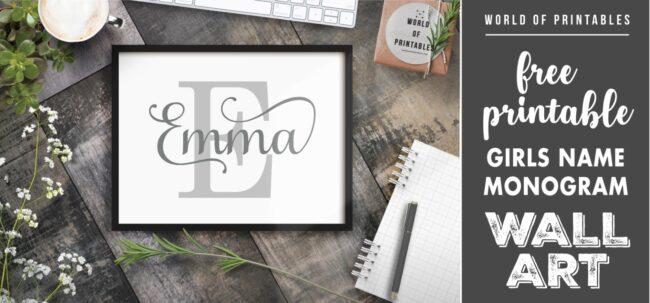 girls name monogram- Printable Wall Art