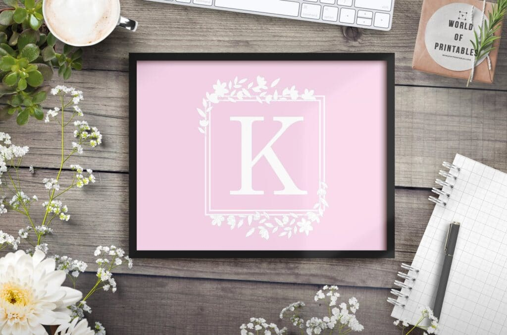 girls name monogram and initial with flowers 2 - Printable Wall Art