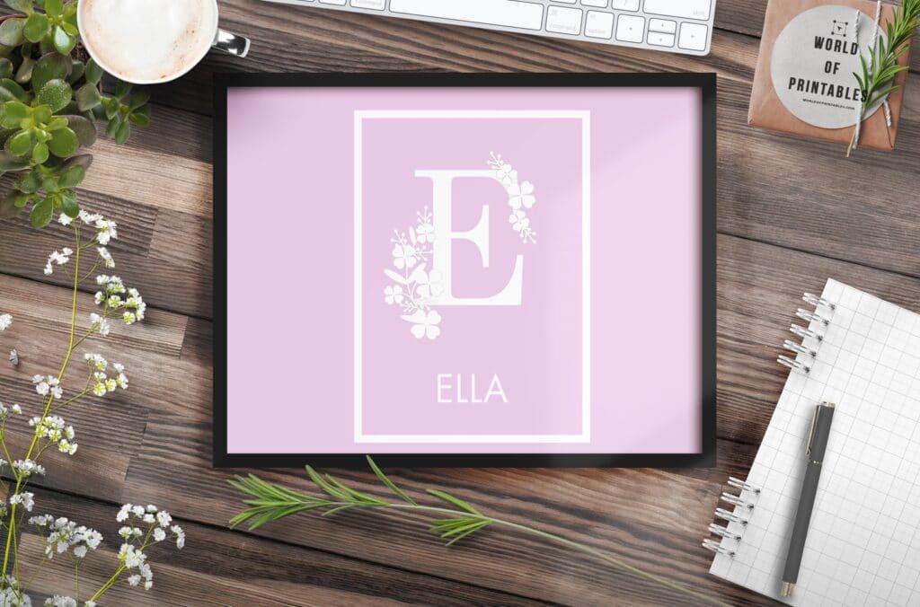 girls name monogram flowers and name 1 - Printable Wall Art