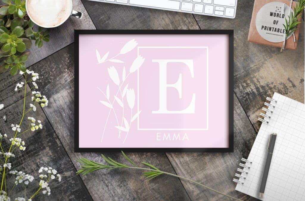 girls name monogram flowers and name 4 - Printable Wall Art