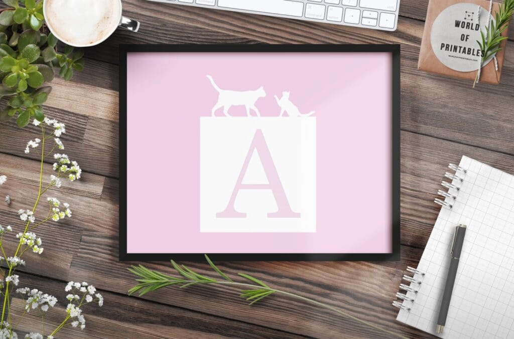 girls name monogram initial with cats - Printable Wall Art