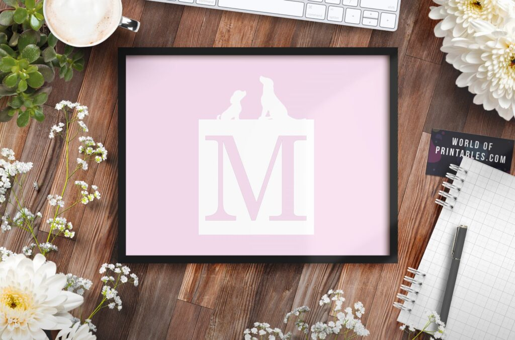 girls name monogram initial with dogs 1 - Printable Wall Art