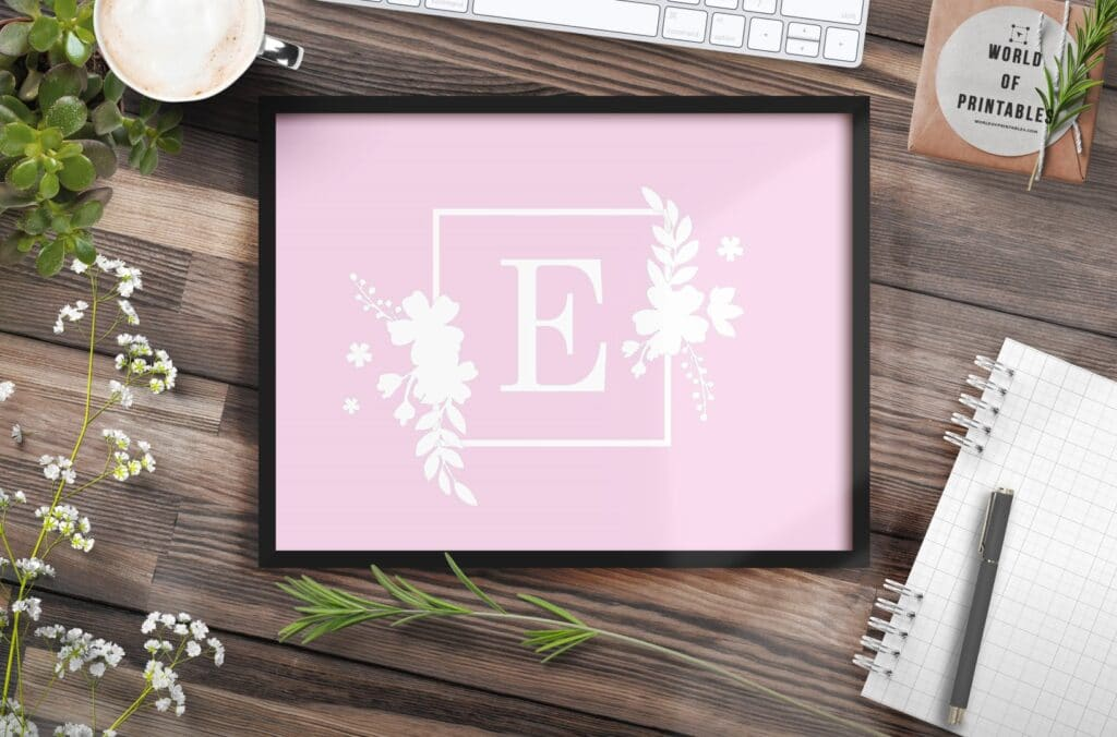 girls name monogram initial with flowers 1 - Printable Wall Art