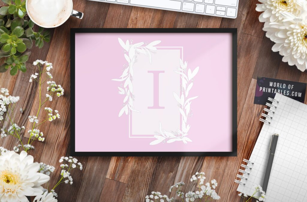 girls name monogram initial with flowers 3 - Printable Wall Art