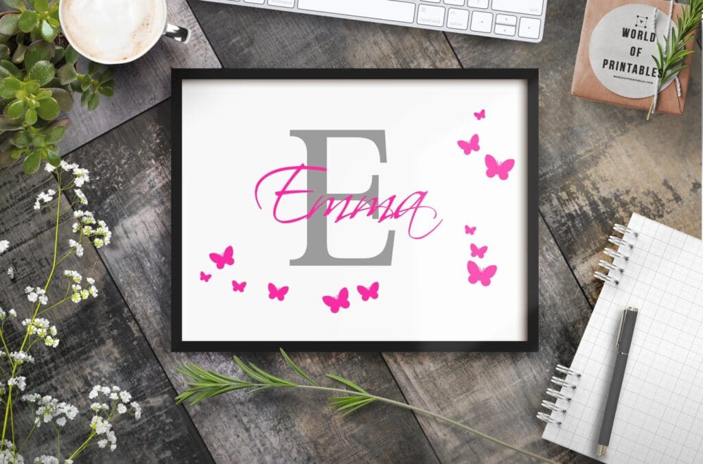 girls name monogram with butterflies mockup - Printable Wall Art