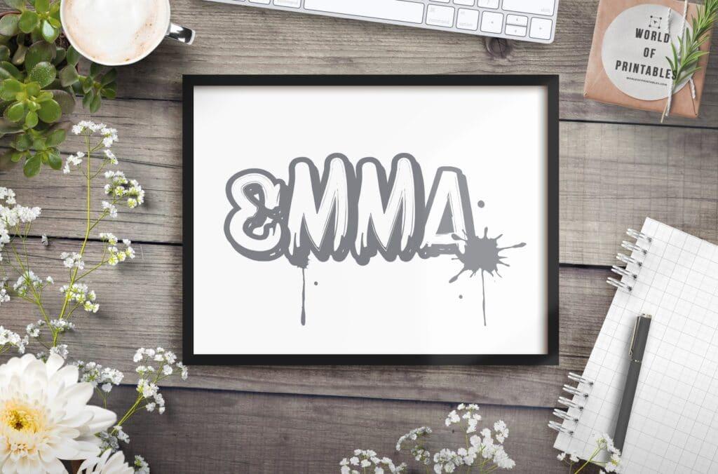 grey graffiti girls name mockup - Printable Wall Art