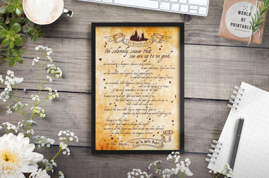 Harry Potter In This House wall art print