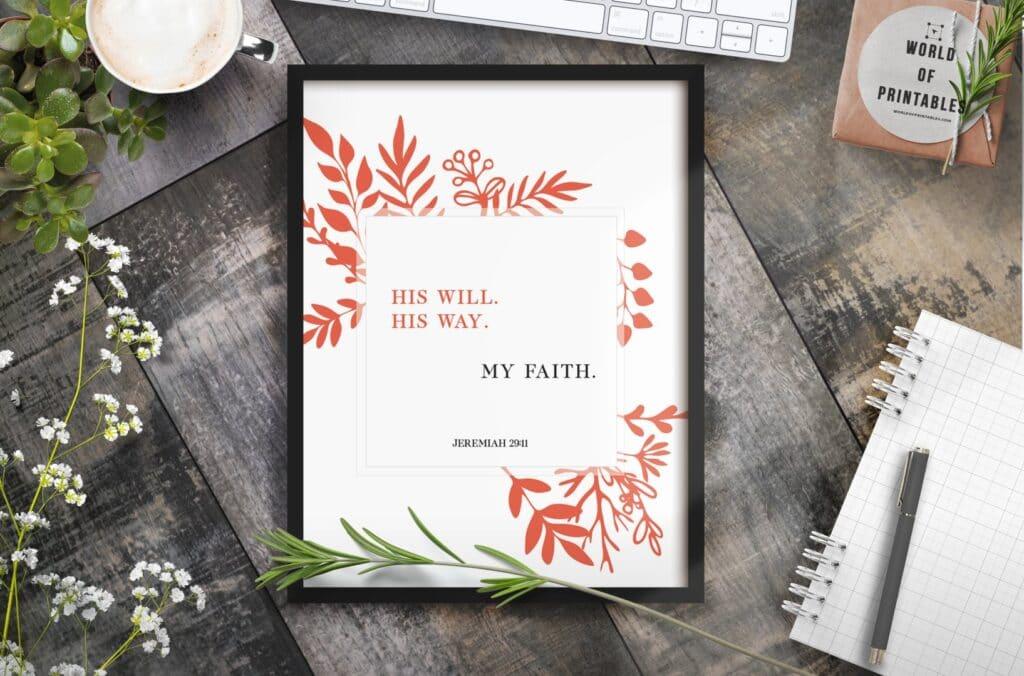 his will his way my faith - Printable Christian Wall Art