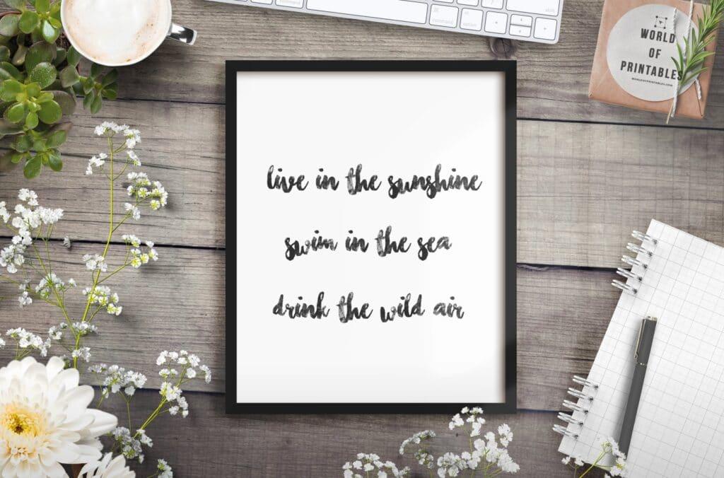Live In The Sunshine Art Print - Printable Wall Art