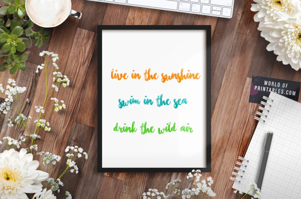 Live In The Sunshine Color Art Print - Free Printable Wall Art