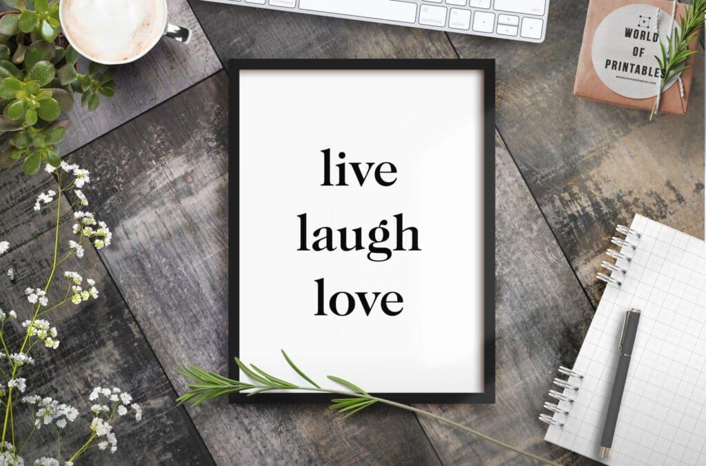 Live Laugh Love wall art print - Free Minimalist wall art