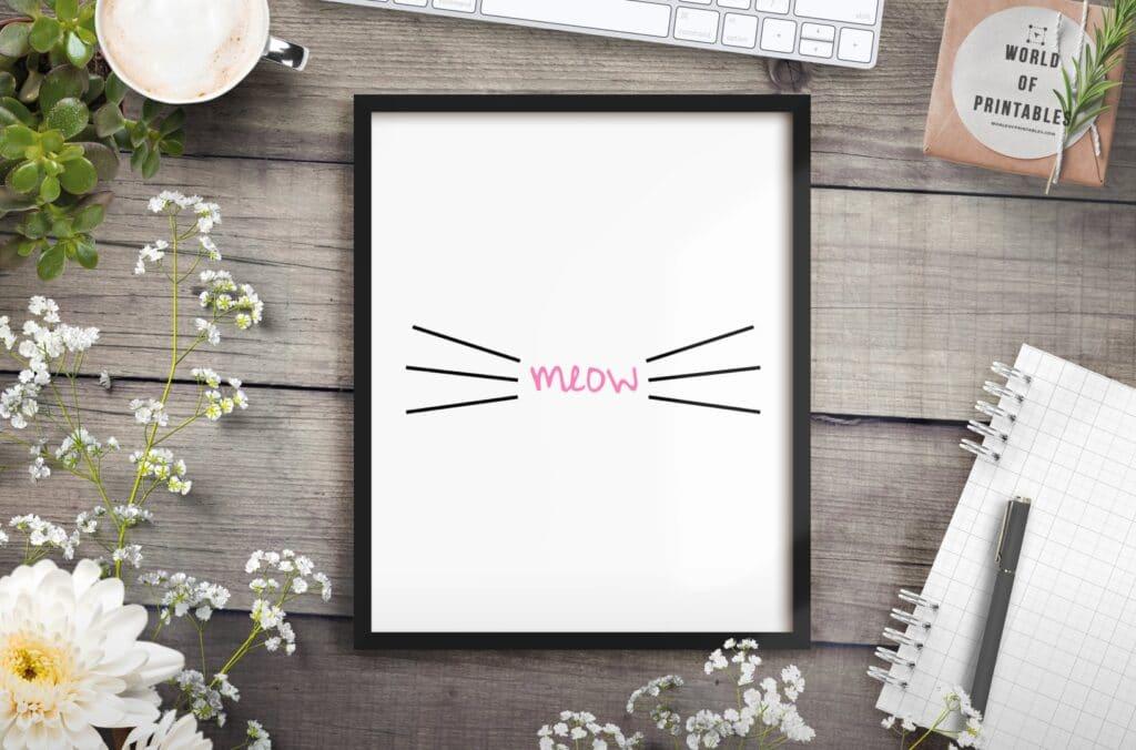 meow pink mockup 2 - Printable Wall Art