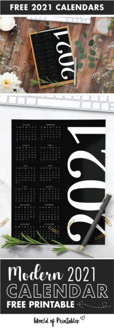 modern printable calendar 2021 one page