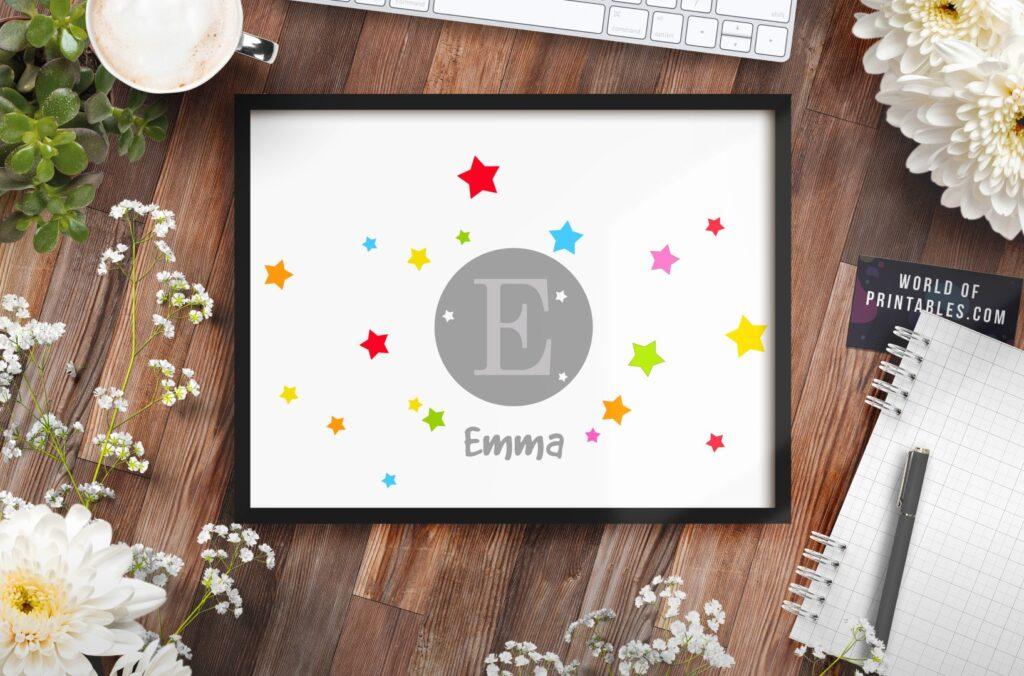 monogram with stars bundle mockup - Printable Wall Art