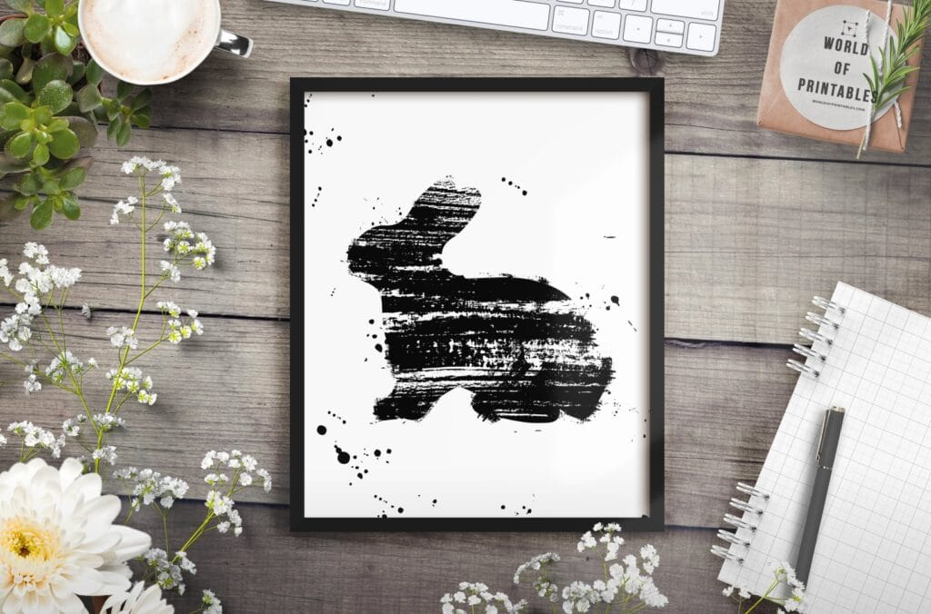 Rabbit print in brush paint strokes - Printable Wall Art