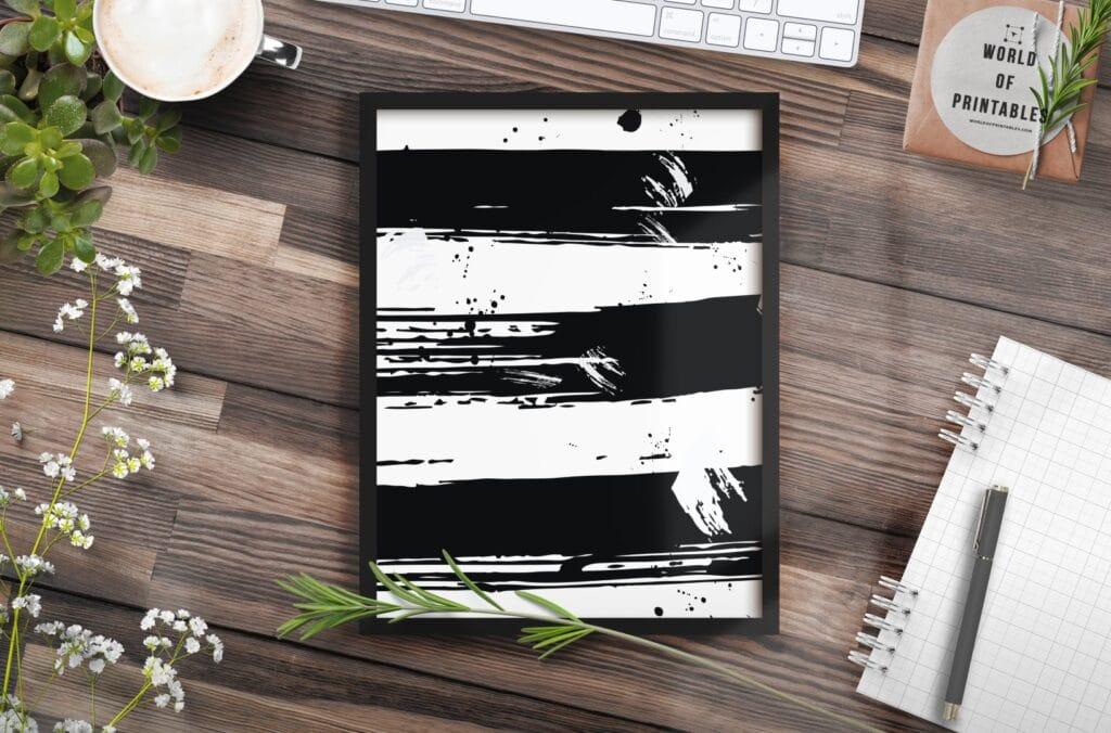 set of 3 brush strokes mockup 2 - Printable Wall Art