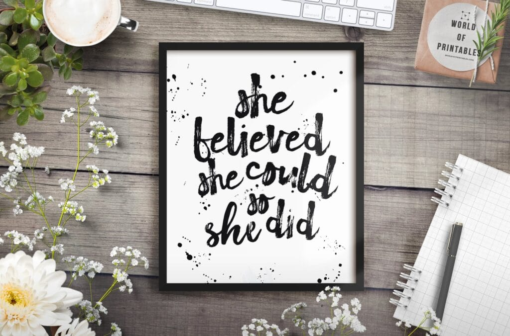 she believed she could so she did mockup 2 - Printable Wall Art