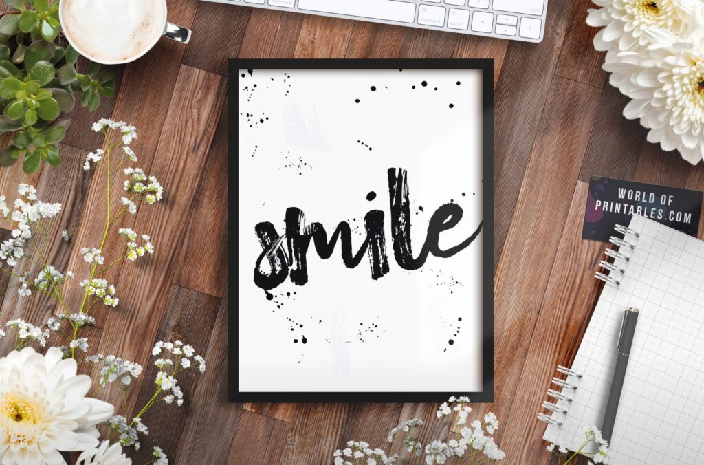 Smile word print in brush lettering style