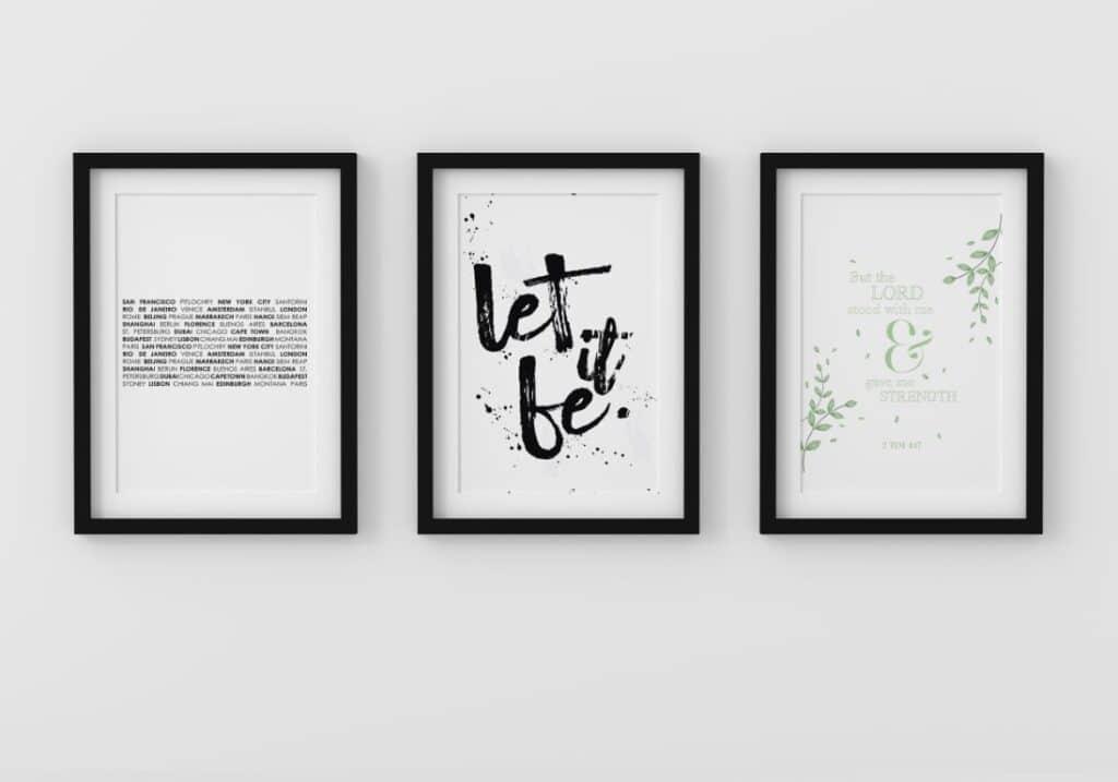 Set of 3 minimalist black and white wall art prints - free printable wall art